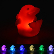 Youpin 7 Colour Changing Dolphin Night Light,Cute Dolphin Shape LED Mostone Night Lamp Colorama Light Novelty Romantic Plastic Cute Lamp For Room Christmas Party Decor Decoration