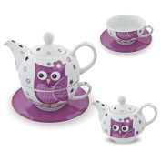 Tea for One Porcelain Tea Set with Teapot / Tea Cup / Saucer Owl Design Pink and White