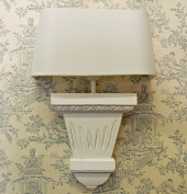 French White Wooden Wall Light With Half Round Shade