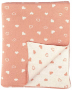 DARZZI Baby Heart Baby Blanket, Blush Pink/Natural, 90cm x 110cm