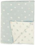 DARZZI Baby Heart Baby Blanket, Pale Blue/Natural, 90cm x 110cm
