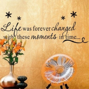 OneHouse Life is Forever Changed With These Moments In Time Quote with Flowers Removable Wall Decal Decor Wall Sticker