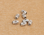 Luoyi 10pcs Vintage Thai Sterling Silver Beads, Tube with Pattern, Hollow, 7*5mm, Hole:2mm