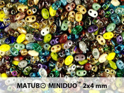 10gr Czech Two Hole Seed Beads MiniDuo 2x4 mm Purple Mix