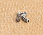 Luoyi 3pcs Vintage Thai Sterling Silver Beads, Carved Tube with Mosaics Pattern, 12*5mm, Hole:3mm
