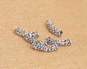 Luoyi 5pcs Vintage Thai Sterling Silver Beads, Hollow Curved Tube with Flower Pattern, 18*4mm, Hole:3mm
