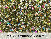10gr Czech Two Hole Seed Beads MiniDuo 2x4 mm Olivine Vitrail