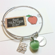 Teacher Bangle Charm Bracelet, with Teacher Apple charms, teacher gift, original design