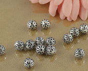 Luoyi Vintage Thai Sterling Silver Beads, Round, Pine Tree Fruit, Spacer Beads, DIY Jewellery