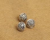 Luoyi 10mm Vintage Thai Sterling Silver Beads, Round with Chinese Kont, Spacer Beads, DIY
