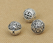 Luoyi Vintage Thai Sterling Silver Beads, Rondelle with Plum Flower, Spacer Beads, DIY