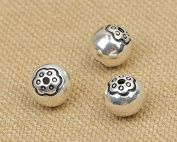 Luoyi Vintage Thai Sterling Silver Beads, Round with Plum Flower, Smooth, Spacer Beads, DIY (C013Z)