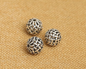 Luoyi Vintage Thai Sterling Silver Beads, Round with Chinese Kont, Hollow, Spacer Beads, DIY