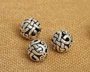 Luoyi Vintage Thai Sterling Silver Beads, Round, Chinese Kont, Spacer Beads, DIY