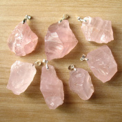 Bolin - Natural Raw Rough Pink Crystal Rose Quartz Stone Charm - 1 Pc