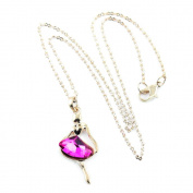 1 PCS Fashion Jewellery Necklace Long Chain Pendent Sweater Collar Bib Choker Collier Golden Angel Rose Red Crystal