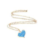 1 PCS Fashion Jewellery Necklace Long Chain Pendent Sweater Collar Bib Choker Collier Sky Blue Peach Love Heart Fully Rhinestones