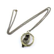 2 PCS Fashion Jewellery Necklace Long Chain Pendent Sweater Collar Bib Choker Collier Bronze Circle Owl