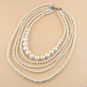 1 PCS Fashion Jewellery Necklace Long Chain Pendent Sweater Collar Bib Choker Collier Statement Beautiful Faux Pearls Multilayers