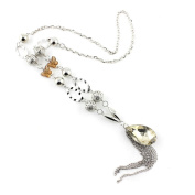 2 PCS Fashion Jewellery Necklace Long Chain Pendent Sweater Collar Bib Choker Collier Silver Faceted Crystals Tassels
