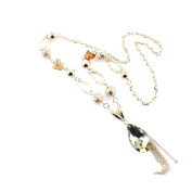 2 PCS Fashion Jewellery Necklace Long Chain Pendent Sweater Collar Bib Choker Collier Golden Faceted Crystals Tassels