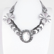 1 PCS Fashion Jewellery Necklace Long Chain Pendent Sweater Collar Bib Choker Collier Silver White Rhinestone