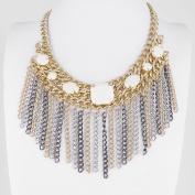 2 PCS Fashion Jewellery Necklace Long Chain Pendent Sweater Collar Bib Choker Collier White Rhinestone Tassels