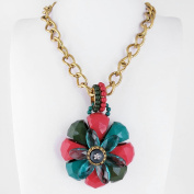 1 PCS Fashion Jewellery Necklace Long Chain Pendent Sweater Collar Bib Choker Collier Big Colourful Flower