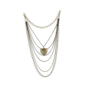 1 PCS Fashion Jewellery Necklace Long Chain Pendent Sweater Collar Bib Choker Collier Hollow Peach Heart Carved Multilayer