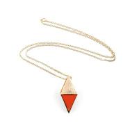 1 PCS Fashion Jewellery Necklace Long Chain Pendent Sweater Collar Bib Choker Collier Orange Solid Triangle Enamel
