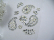 10 Mixed Pearl & AB Clear Rhinestone Paisley & Flower Stick on Gem Motifs