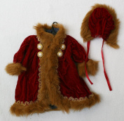 "Porcelain Doll Coat ,Red with Fur, Shoulder W. 11 cm, Sleeve L. 15 cm, Cuffs W. 5 cm, Bust W. 16 cm, Overall L. 28 cm. May Fit 18-21 "" Doll."