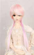 (15-16CM) BJD Doll Hair Wig 1/6 YOSD DZ DOD LUTS / 3 Colours Mixed, Pink+Light-Purple + Creamy-White, Medium Hairstyle / FBE173
