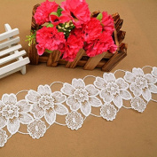 Ecru 3 Yards Retro Cotton Flower Embroidered Ribbon Lace Dress Lace Craft Lace Collar Lace 7.9cm Wide