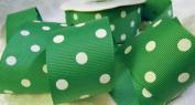 Grosgrain Ribbon - *Emerald Green Polka Dots* 3.8cm Wide - 25 Yard Roll