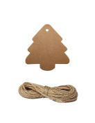 Christmas Tree Kraft Brown Vintage Wedding Favour and Party Gift Tags with Free Strings