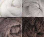 Natural Undyed Corriedale Wool Collection Four Ounces for Felting and Spinning