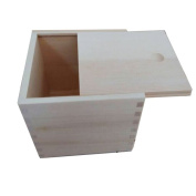 StarMall Wooden Unfinished Storage Box with Slide Top--Square (Big