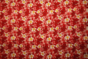 All over Plumeria and Hibiscus flower print Red rayon fabric pint