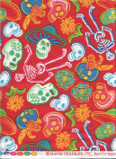 David Textiles Fabric Fun Folk Folkloric Art Skull Fabric DT-3572-3C Sugar Skulls Skull Tattoo Quilt Fabric 100% Cotton 110cm Wide - HALF YARD ~ On Red Background ~ Skeletons
