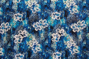 Floating Hibiscus Blue Rayon Fabric Print