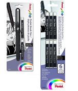 Pentel Arts Pocket Brush Pen, Includes 2 Black Ink Refills (GFKP3BPA) with Pentel Arts Pocket Brush Refills, Black Ink, Pack of 6