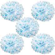 WYZworks Set of 5 - BLUE POLKA DOT 25cm - (5 Pack) Tissue Pom Poms Flower Party Decorations for Weddings, Birthday, Bridal, Baby Showers, Nursery, Décor