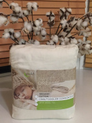 Greenbuds Organic Cotton Crib Comforter with Wool Fill. Ultra Soft Wool Crib Blanket, Toddler Comforter