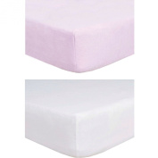 TillYou 2 Pack Fitted Crib Sheet-100% Woven Cotton Flannel(Breathable and Soft), Fit Standard Crib Mattress--White & Lavender