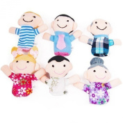 Denshine® 6 Pcs Family Finger Puppets - People Includes Mom, Dad, Grandpa, Grandma, Brother, Sister Mini Grandparents, Mom & Dad, Brother & Sister Family Style Finger Puppets for Children, Shows, Playtime, Schools Cute 6pcs Family Finger Puppets