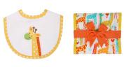 3 Marthas Boutique Yellow Jolly Giraffe Bib and Fancy Burp Cloth Set