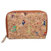 Boshiho® Fashion Cork Wallet Zipper Around Design Bifold Purse Wallet with Coin Pocket Holder Eco Friendly Vegan Gift
