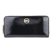 Michael Kors Fulton Ziparound Continental Patent Leather Wallet - Black