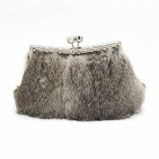 Kingluck Cony Hair Women Event Party / Wedding Handbag Purse Without Zipper Clutch / Evening Bagn